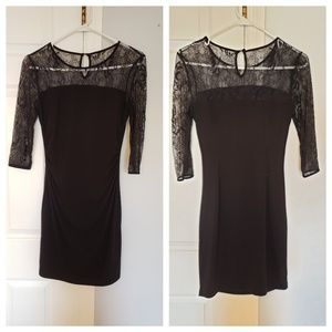 Black long sleeved cocktail dress 2 Petite